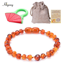 HIYONG Baby Teething Ambers Bracelet/Anklet for Boys Girl Handmade Natural Baltic Beads Give away Certificate 5 Colors
