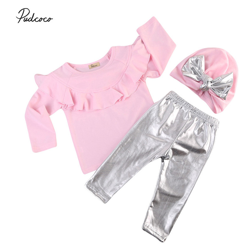 0 to 3T Newborn Kids Baby Girls Clothes New Style Long Sleeve Tops +Long Leggings Pants +Hat 3pcs Outfits Baby Clothing Set