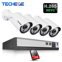Techege H 265 H 264 5MP 2592 1944 Surveillance CCTV System 48V PoE 4CH NVR Kit