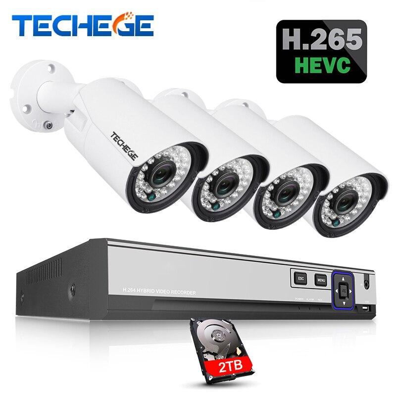 Techege H.265 H.264 5MP 2592*1944 Système de Surveillance CCTV 48 V PoE 4CH NVR Kit 5MP 3MP 2MP Étanche Extérieur CCTV Caméra système