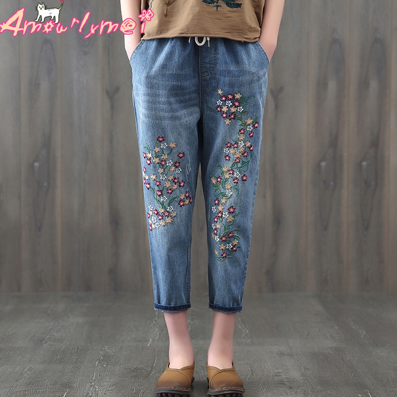 Floral Embroidered   Jeans   For Women Denim Harem Pants Pocket Loose Elastic Waist Lace Up Casual   Jeans   Mori Girl Vaqueros Mujer