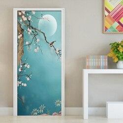 Китайский стиль, ручная роспись, цветы, птицы, художественная настенная живопись, виниловая самоклеящаяся дверная наклейка, 3D фото обои, вод...