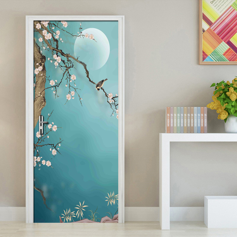 Chinese Style Hand Painted Flowers Birds Art Wall Painting Vinyl Self-adhesive Door Sticker 3D Photo Wallpaper Waterproof Mural