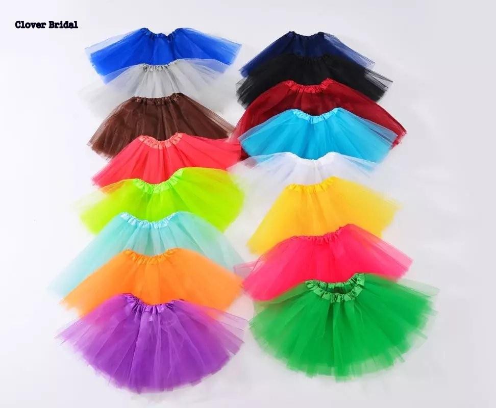Shop905088 Store 2017 child puffy tulle underskirt for girls 2-14 years plain gowns royal yellow orange short Ballet dance skirt
