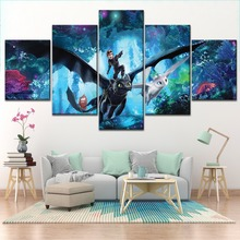 Modular Picture 5 Piece Canvas Print Combinatorial Art How to Train Your Dragon The Hidden World Painting Kids Room Wall Decor