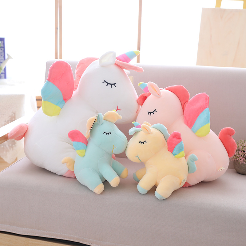 rainbow flying unicorn toy pink yellow white green fly horse soft doll stuffed animal baby kids toy child birthday gift