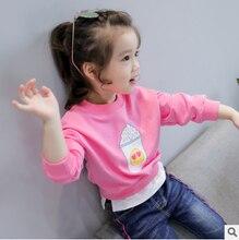 Children's clothing 2017 autumn new girl cotton ice cream print pattern round neck long sleeve stitching sweater