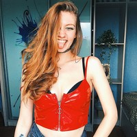 2018 New Arrive Sexy Red PU Zipper Camis Camisole Bralet Bustier Spaghetti Straps Cropped Vest Tanks