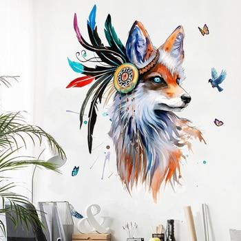 Европейский стиль ручная роспись Волчья Голова наклейки на стену Красочные перо бабочка товары для птиц настенная Фреска плакат домашний д...
