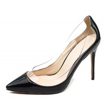 цена PVC Transparent Fashion Women Shoes Ladies Slip On Sexy Thin High Heels Pointed Toe Thin Heels Wedding Shoes Party Pumps C035A онлайн в 2017 году