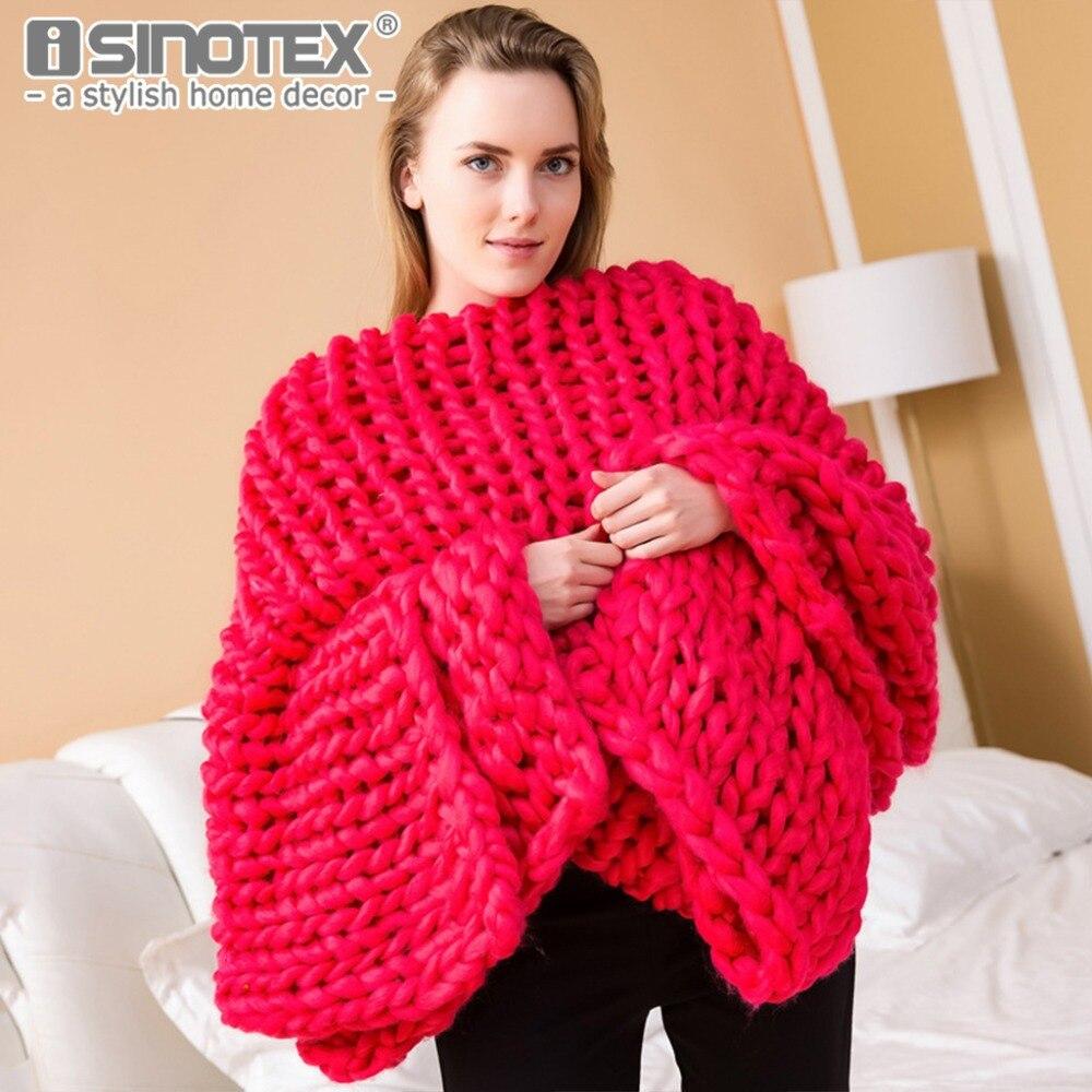 Super Doux Chunky knit couverture Épaisse Ligne Géant Fil Maison Literie Salon Décor Photographie Props Wolldecke Couvertures