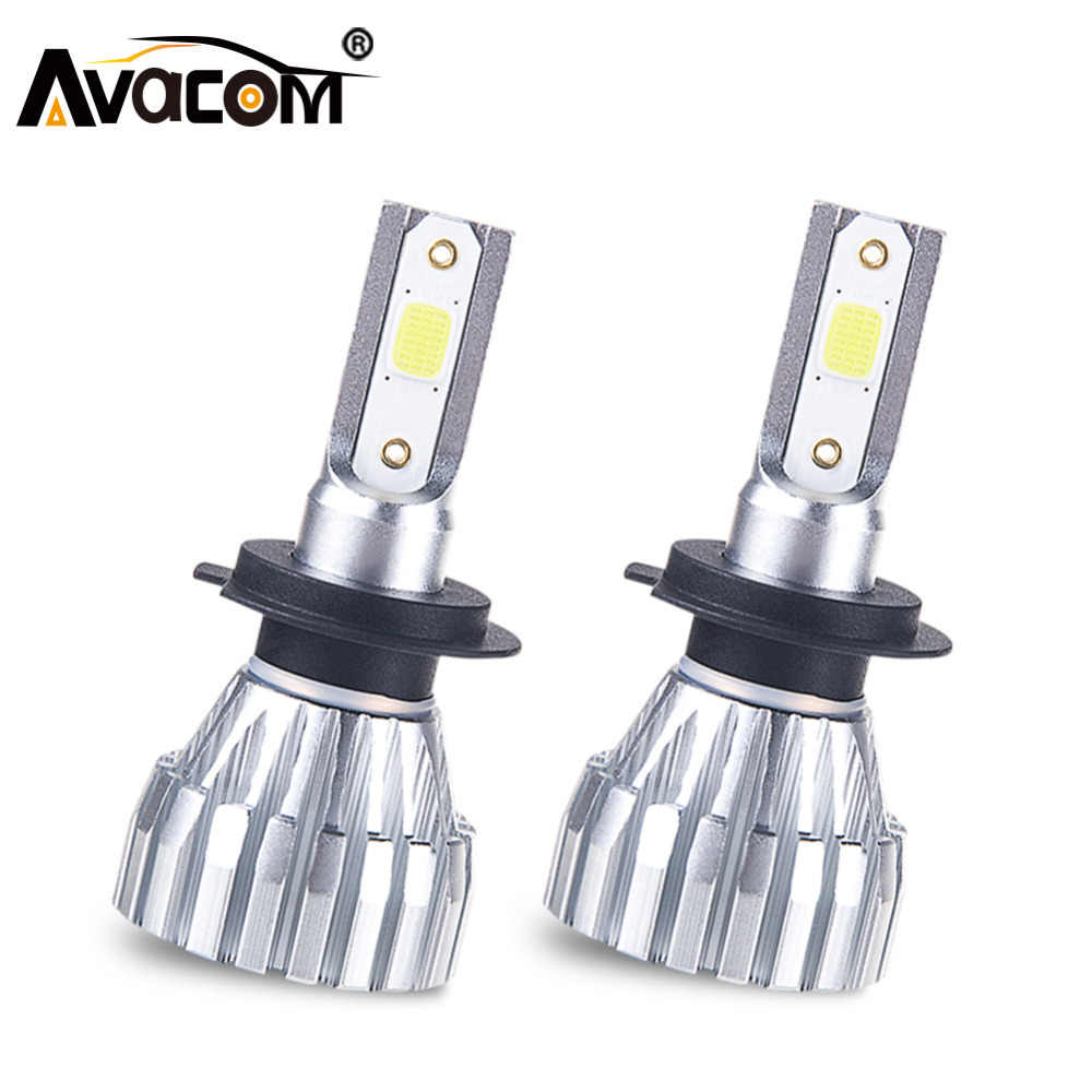 Avacom 2Pcs LED H4 H3 Mini Car Headlamp 9005/HB3 9006/HB4 Hir2 COB Chip 50W 8000Lm 6500K 12V 24V LED H1 H7 H11 Ampoule Voiture