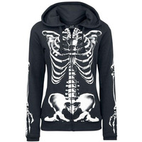 Kinikiss 2018 autumn winter gothic hoodie sweatshirt black straight skull print hooded long sleeve zipper street goth hoodies