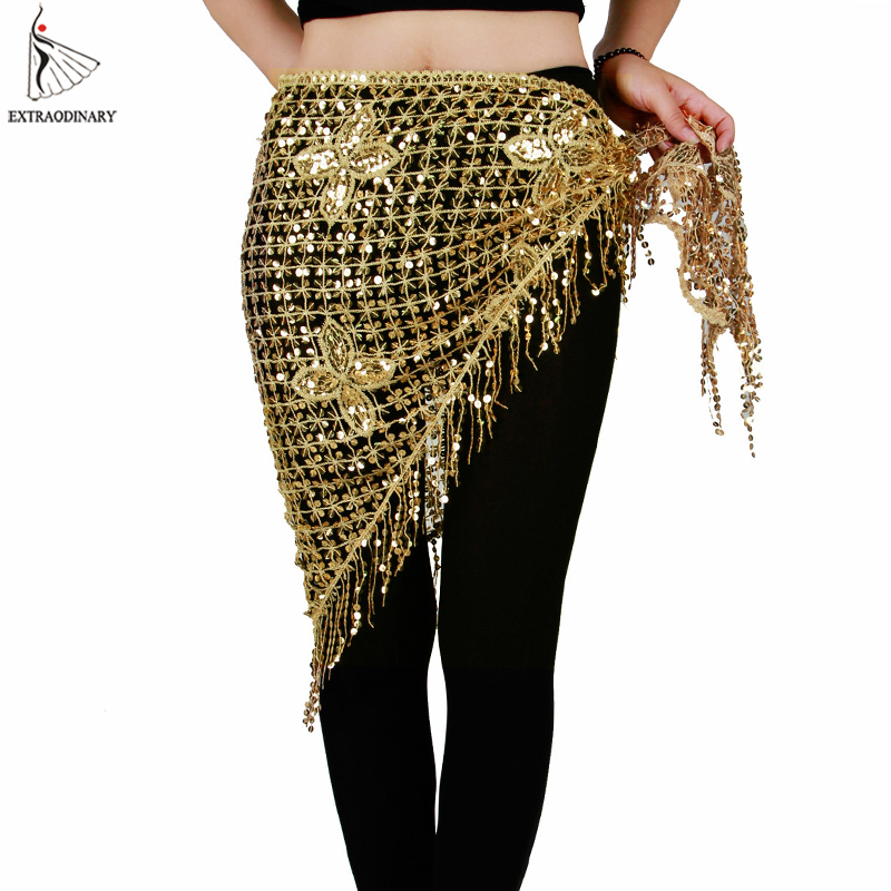 Belly Dance Hip Scarf Stretchy Long Tassel Triangle Sequin Belly Dancing Costume Belt Shawl Accessories Hand Crochet 10 Colors