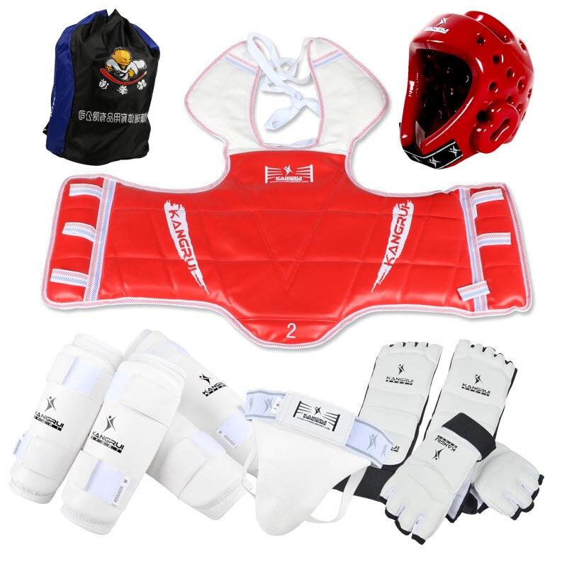 Free shipping Adult kids taekwondo Protectors wtf TKD protection 8pcs Uniform shin arm chest groin Guard protector karate helmet