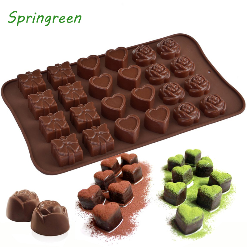 Kitchen,dining & Bar Home & Garden Springreen Non-stick Silicone Chocolate Mold Rose Heart Gift Box Shape Jelly Ice Lolly Candy Mould Diy Wedding Party Gift Maker