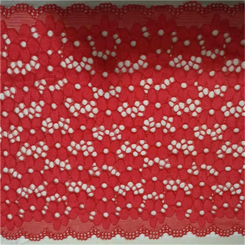 1 ヤード 18 センチメートル幅 5 色弾性レース生地 DIY 工芸品縫製 Suppies 装飾アクセサリー衣料用弾性レーストリム