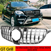 GT R Grille For Mercedes Benz GLE Class W166 W292 Coupe 4Matic SUV Chrome Front Racing Grill 2015 2019 GLE300 GLE320 GLE350
