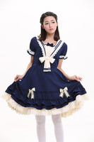 Summer Blue Cute Lovely School Princess Lolita Dress Girl Women Sweet Kawaii Short Sleeve One Piece