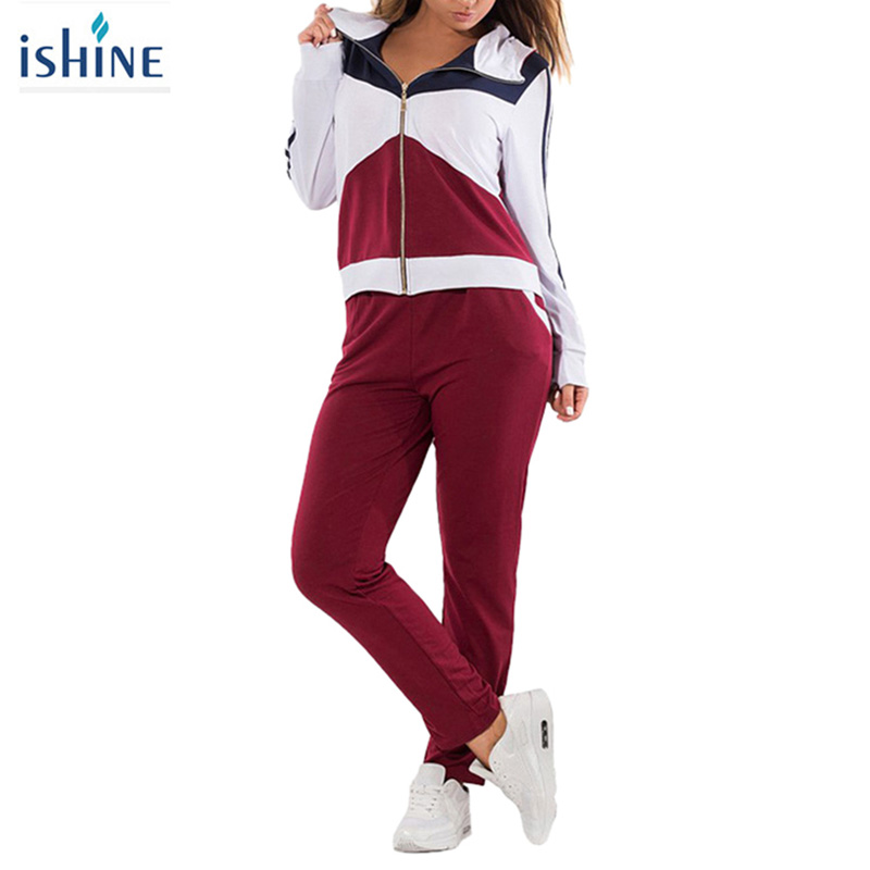 2pcs Quick Dry Contrast Color Sportwear Sweatshirt + Sweatpants for Women Hooded Running Jacket Trousers Tracksuit Plus Size 6XL contrast check plaid embroidered appliques sweatshirt page 2
