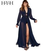 HYH HAOYIHUI Solid Blue Women Dress Deep V Neck Long Sleeve Front Split Sexy Vestidos A