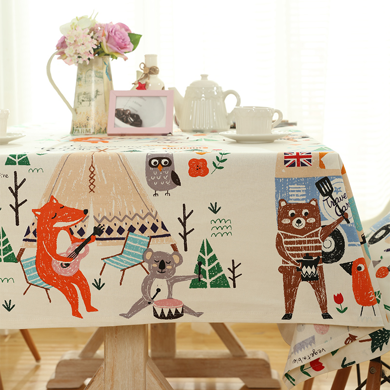 Korean Style Cartoon Printed Table Cloth High Quality Tablecloth Decorative Elegant Dining Table Cloth Linen Cover