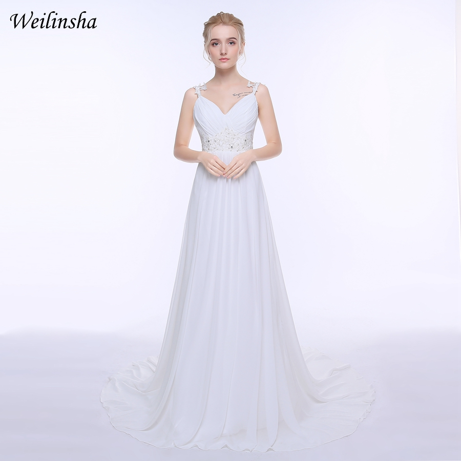 Pakaian perkahwinan pantai weilinsha di stok plus saiz spageti tali tanpa lengan chiffon panjang barisan perkahwinan pengantin gaun