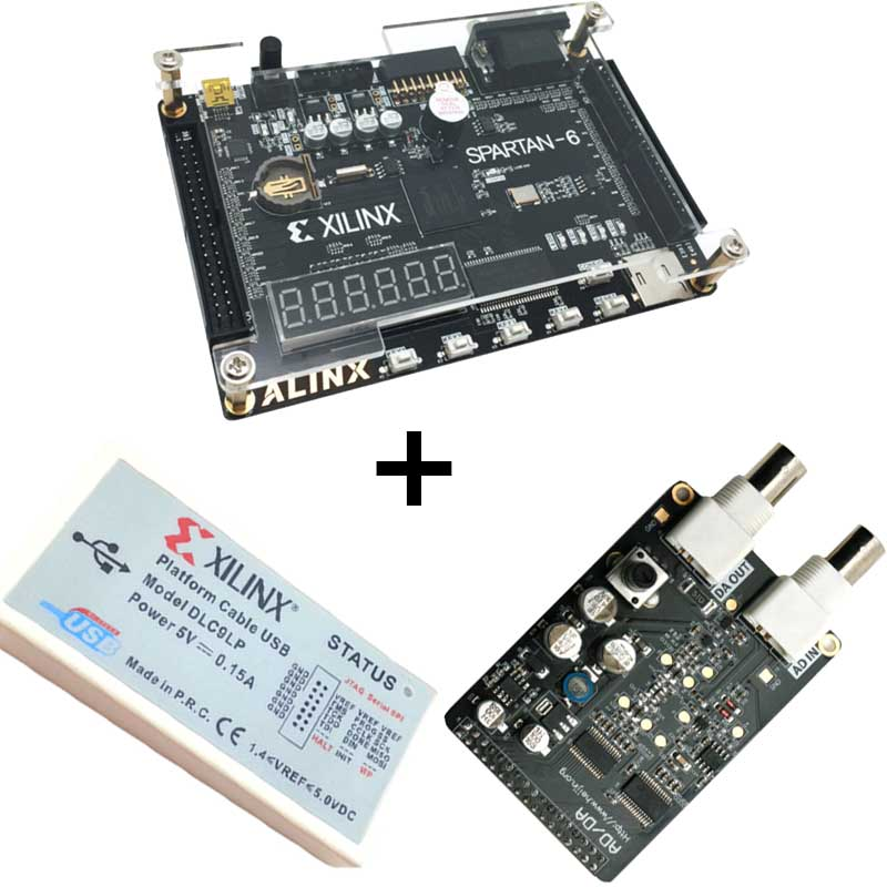 Xilinx spartan 6 FPGA kit FPGA spartan 6 XC6SLX9 development board + Platform USB Download Cable+8 bit AD/DA Module XL015Xilinx spartan 6 FPGA kit FPGA spartan 6 XC6SLX9 development board + Platform USB Download Cable+8 bit AD/DA Module XL015