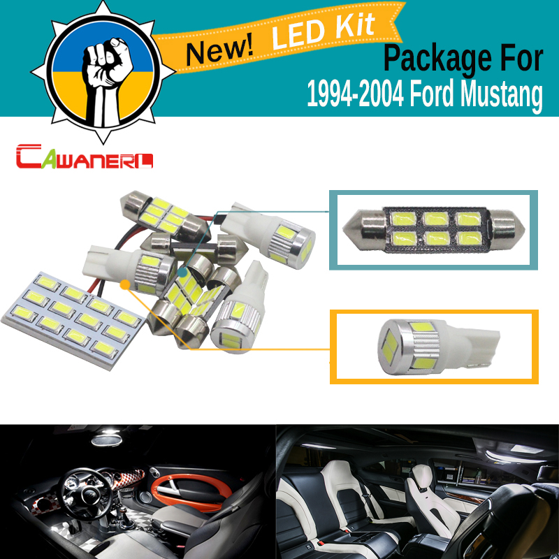 Cawanerl Car 5630 SMD Interior Map Dome License Plate Light LED Bulb LED Kit Package White Fit For Ford Mustang 1994-2004 15x canbus dome door license plate light error free white bulb led interior package kit fit for a6 or s6 c5 1998 2004 63