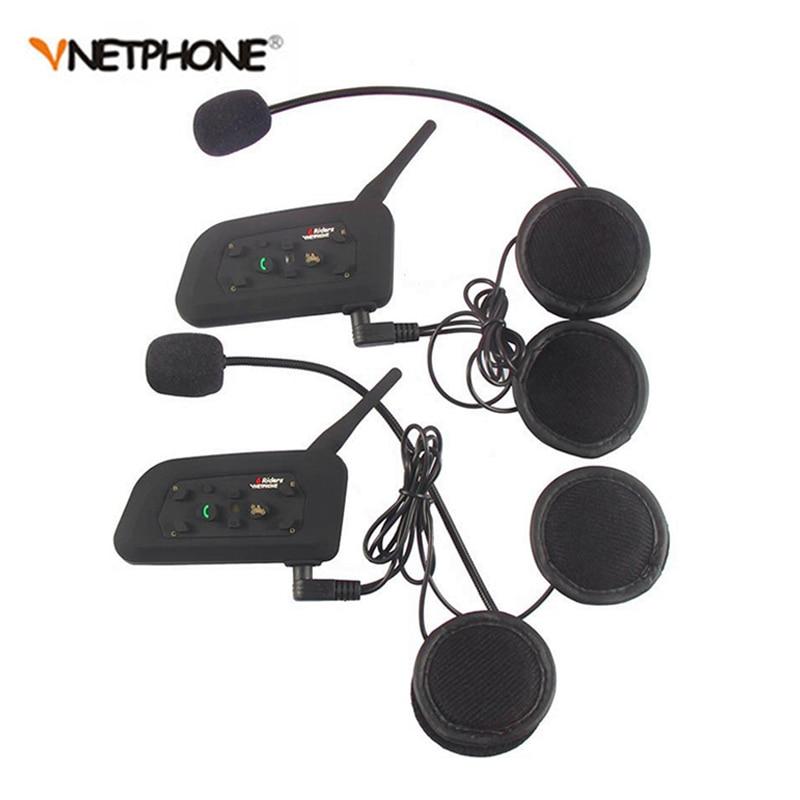 2PCS Wireless Bluetooth Motorcycle Helmet Intercom 1200M BT Interphone Headset For 6 Rider Intercomunicador Moto