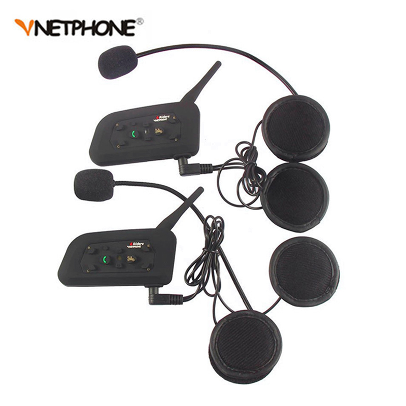 2PCS Vnetphone V6 Motorcycle Bluetooth font b Helmet b font Intercom Headset 1200M Moto Wireless BT