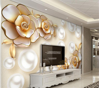 Beibehang Niestandardowe Tapety Salon Sypialnia Ścienne Assorted Europejski Luksusowa Diamond Gold Flower Pearl TV Sofa Tło Mural