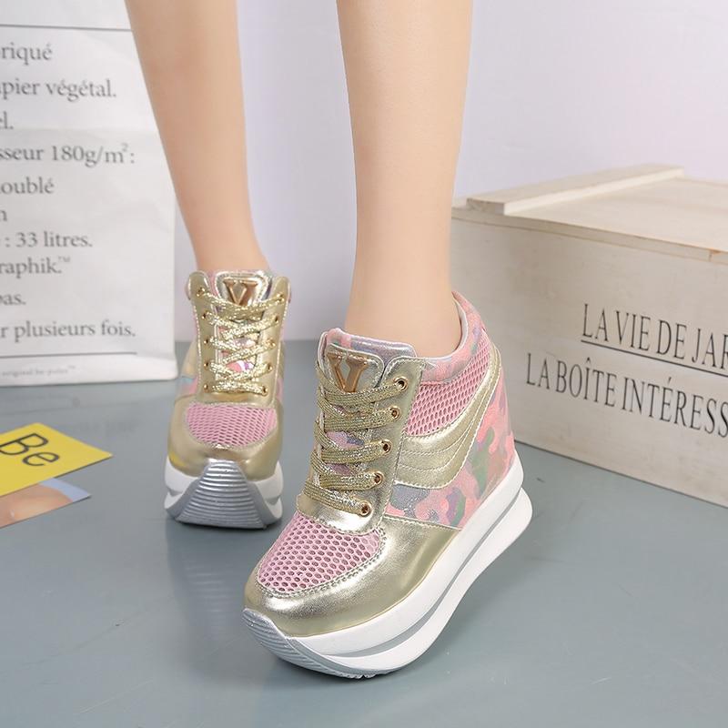 Femmes Mode Sport Plate Avec forme 12 Cm Wedge Augmenté Noir De Et argent Automne Printemps Chaussures rose EBnYqEC