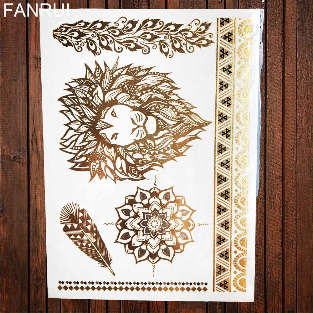 Seksi güneş ay yıldız geçici dövme kadın parti vücut kol sanat sahte flaş dövmeler altın metalik dövme çıkartma kız bilezik bilek