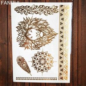 Сексуальная Татуировка Sun Moon Star, временные татуировки для женщин, для вечеринок, боди-Арм, Арт, поддельные флеш-тату, золотые металлические татуировки, наклейки для девушек, браслет на запястье