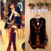2017 New Brand Ethnic Women Long Sleeve Vintage Mexican Embroidered Floral Boho People Top Tunic Loose