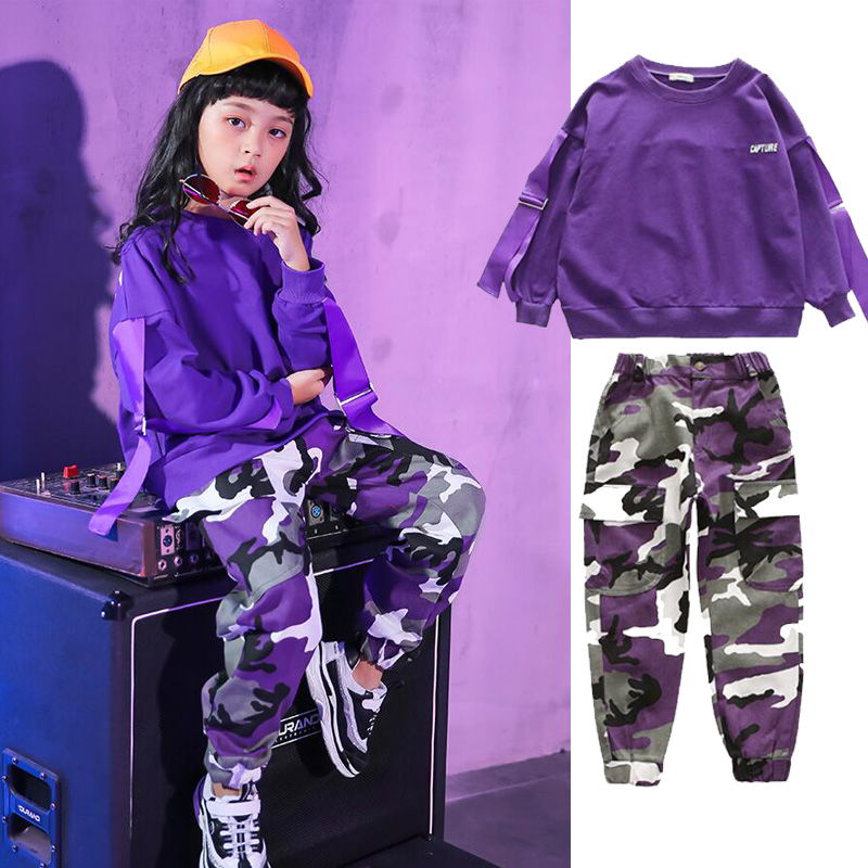 Kids Ballroom Modern Jazz Hip Hop Dance Wear Suit Costumes Carnival Loose Tops Pants Girls Boys Party Dancing Clothes Outfits