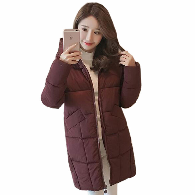 Plus Size Casual Women long cotton Jackets 2017 Autumn Winter New Hooded thicker coat Full-Sleeve loose Warm cotton Coat QH0446 warm thicken baby rompers long sleeve organic cotton autumn