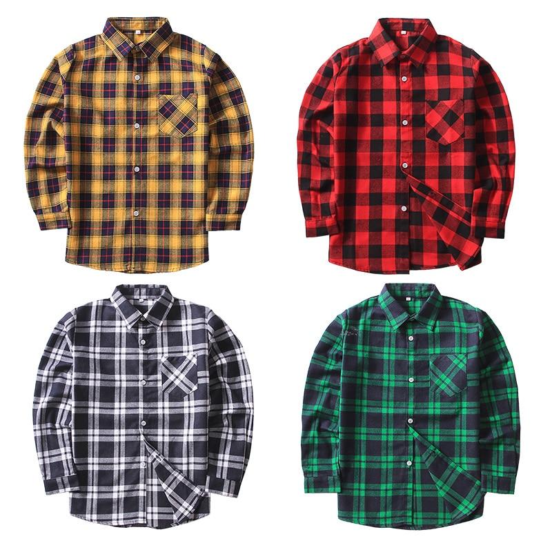 VIDMID 2-12 años los niños Camisas Casual clásico de camisa a cuadros niños camisas para niños chaqueta grande niño niñas blusa adolescentes 6010 01