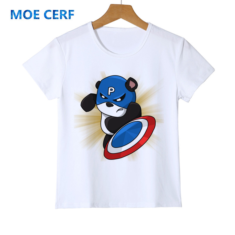 Charitable Superhero Captain America Panda Personality Print Kid T-shirt Panda Funny New Boy/girl/baby Casual Femme Cute T Shirt Z42-4 Chills And Pains