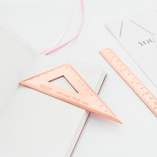 3 teile/satz Dreieck Lineal Set Metall Schreibwaren Winkelmesser Lineal Büro Schule Quadrate Winkelmesser