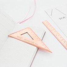 Ensemble de règles triangulaires en métal 3 pièces pour papeterie, rapporteur, places scolaires du bureau