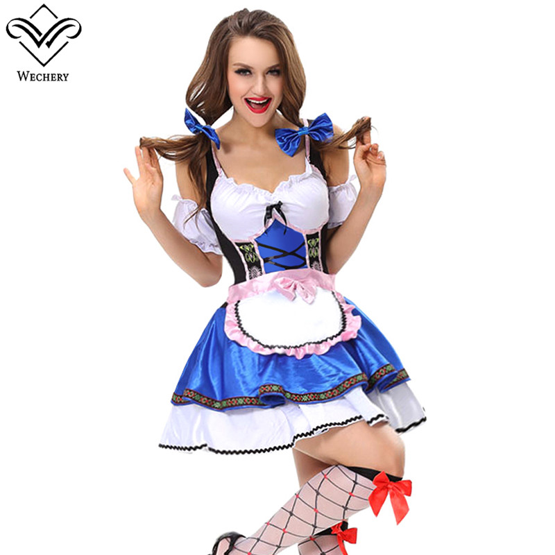 Wechery Bar Waitress Cosplay Sexy Blue White Mini Dress with Apron Halloween Maid Costume Dress Up Party Clothing