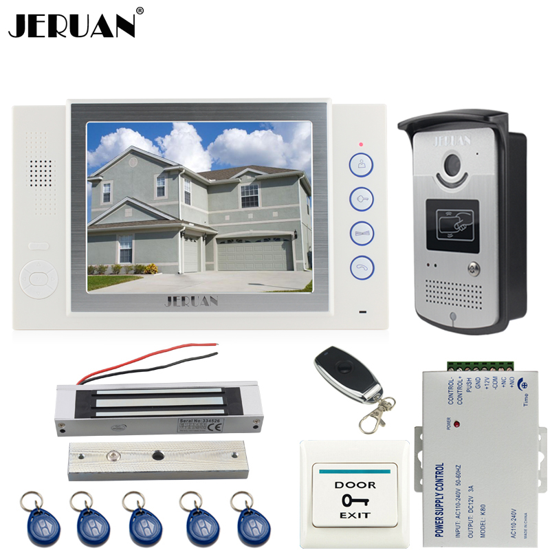 JERUAN Home luxury 8 inch TFT video door phone Record intercom system kit 700TVL RFID Access IR Night Vision Camera In stock jeruan home 7 video door phone intercom system kit 1 white monitor metal 700tvl ir pinhole camera rfid access control in stock