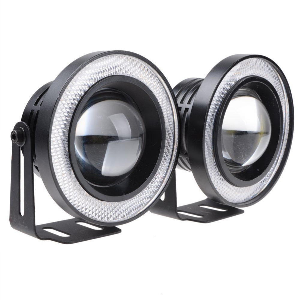 1 Pair Car COB Blue Halo Ring LED DRL Projector Lens Fog Driving Lamp For SUV 2017 New Brand