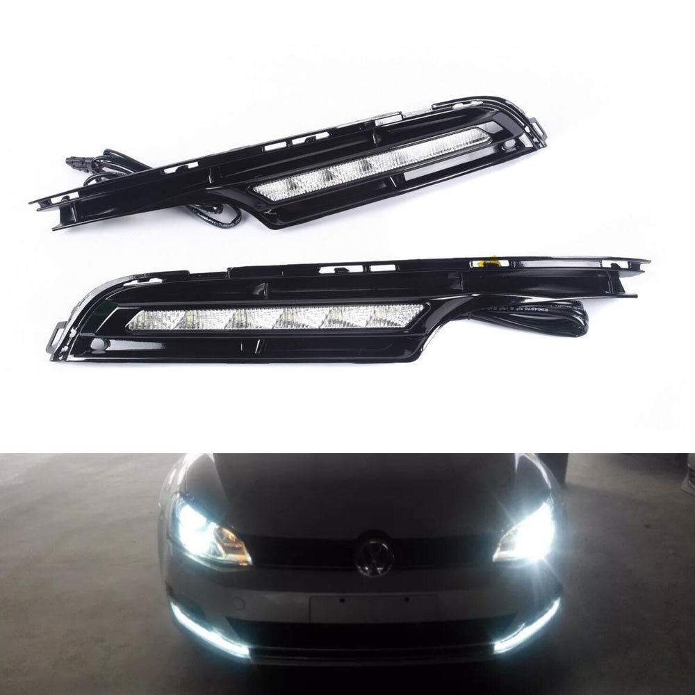 2Pcs ABS Daytime Running Light DRL Driving Fog Lamps Fit For Golf7 MK7 2014 2015 Car Styling Auto Parts Accessories qvvcev 2pcs new car led fog lamps 60w 9005 hb3 auto foglight drl headlight daytime running light lamp bulb pure white dc12v