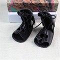 2017 Младенца Лета Девушки Гладиатор Обувь Черный Мода Высокие Полые Ребенка Малыша Обувь Детские Мокасины Детская Обувь