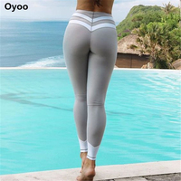 Oyoo curve contrast stripes black&white gym athletic leggings sexy grey fitness yoga pants running tights women workout clothes