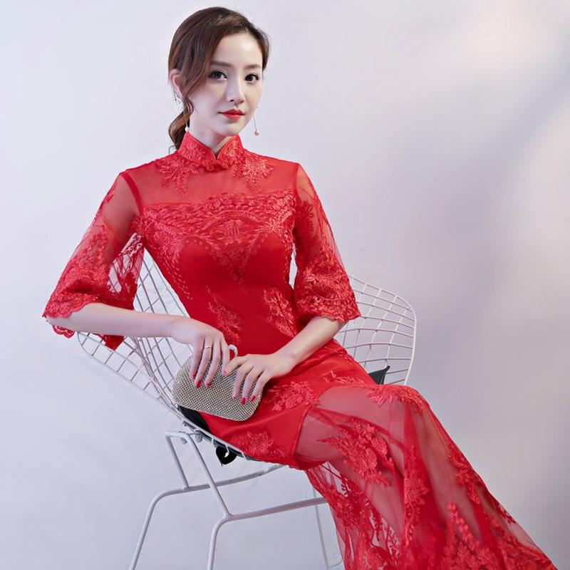 U-SWEAR 2019 New Arrival Red   Bridesmaid     Dress   Embroidery Elegant Loose Cuffs Mesh Sheer Lace Cheongsam   Bridesmaid     Dress