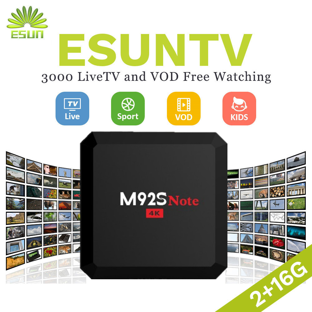 ESUNTV M92S NOTE S912 Android 6.0 TV Box 2/16G Arabic Spain UK French Germany Italy Netherland Sweden Portugal EX-YU xxx US 2017 new arrival esuntv free iptv android tv box 2 16g europe sweden french germany italy xxx 4000 scandinavian channels
